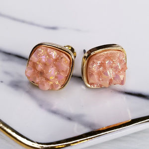 Jewelry - Blush Pink Iridescent Square Druzy Stud Earrings